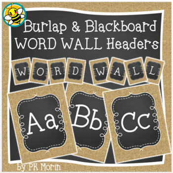 Word Wall Headers - Burlap & Blackboard