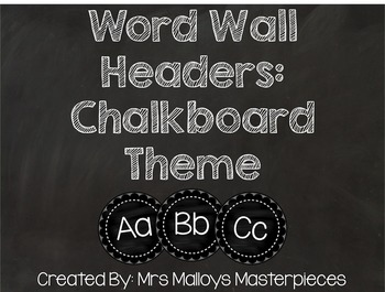 Word Wall Headers: Chalkboard Theme
