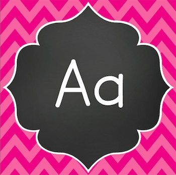 Word Wall Letters - Chalkboard with Pink Chevron