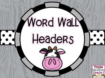 Word Wall Headers - Cow Theme
