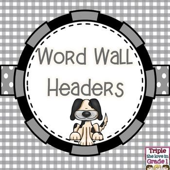 Word Wall Headers - Dog Theme