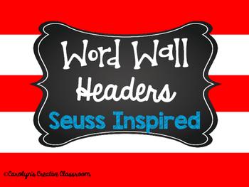 Word Wall Headers Read Across America Inspired Colors