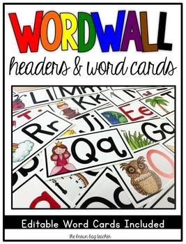 Word Wall Headers & Editable Word Cards