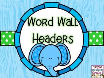 Word Wall Headers - Elephant Theme