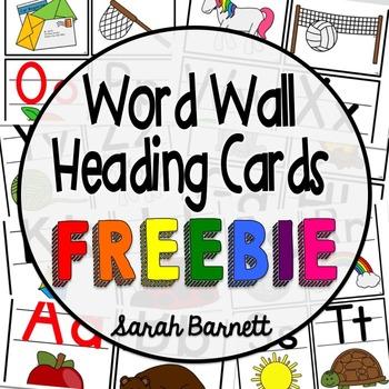 Word Wall Heading Cards - FREEBIE!