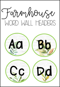 Word Wall Headers Farmhouse Decor