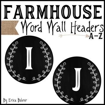 Word Wall Headers: Farmhouse Style