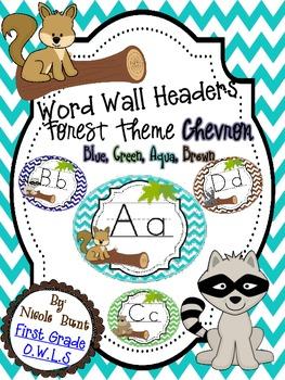 Word Wall Headers Forest Chevron (Blue, Green, Aqua, Brown)