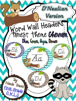 Word Wall Headers Forest Chevron D'Nealian