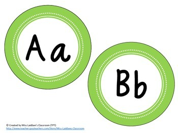 Word Wall Headers {Green}  - Upper and Lowercase Letters, Digraphs