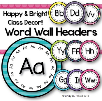 Word Wall Headers (Happy & Bright)