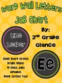 Word Wall Headers & Job Charts Chalk Circle/Brights Design