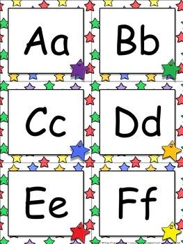 Word Wall Headers (Letters) - Superstars Theme #2 - Stars - King Virtue