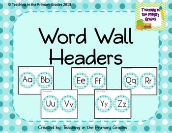 Word Wall Headers- Light Blue Polka Dots