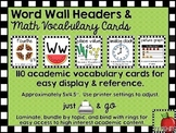 Word Wall Headers & Math Vocabulary Cards