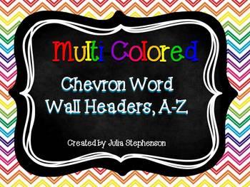 Word Wall Headers- Multicolored Chevron