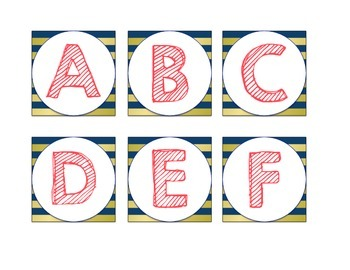 Word Wall Headers, Navy, Coral, and Gold