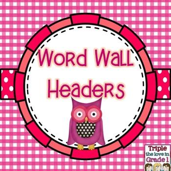 Word Wall Headers - Owl Theme