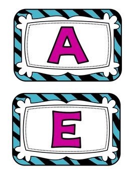 Word Wall Headers {Purple & Blue Zebra}