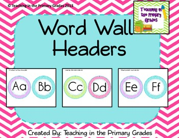 Word Wall Headers-Purple, Green, Blue and Pink Chevron