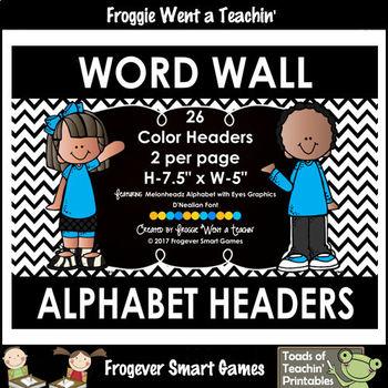 Word Wall Headers--Rainbow--Alphabet with Eyes--D'Nealian Font