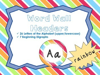 Word Wall Headers {Rainbow}  - Upper and Lowercase Letters, Digraphs