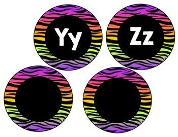 Word Wall Headers Rainbow Zebra Animal Print