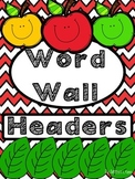 Word Wall Headers Red Chevron