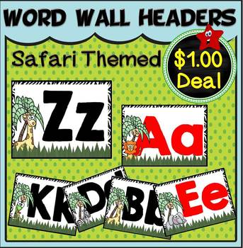 Word Wall Headers Set~ Safari Themed