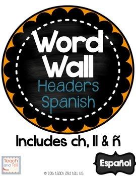 Word Wall Headers Spanish
