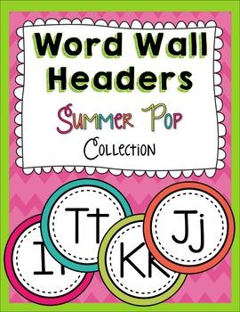 Word Wall Headers FREEBIE Summer Pop Collection
