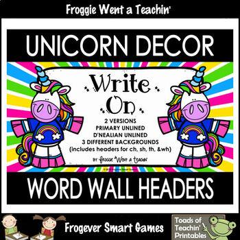 "Word Wall Headers--Unicorn Decor ""Write On"""