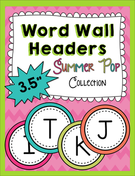Word Wall Headers - Uppercase Summer Pop Collection