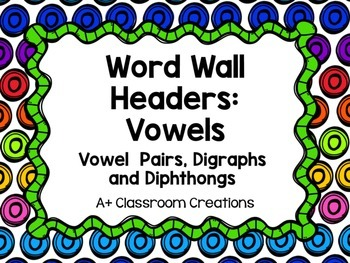 Word Wall Headers:  Vowels {Vowel  Pairs, Digraphs  and Di