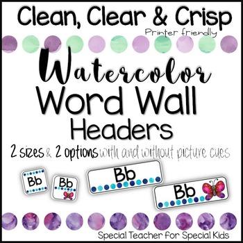 Word Wall Headers- Watercolor Theme