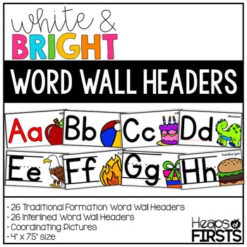 Word Wall Headers {White&Bright}