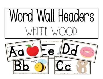 Word Wall Headers- White Wood