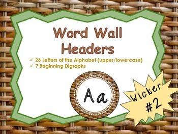 Word Wall Headers {Wicker Texture #2}  - Upper and Lowercase Letters, Digraphs