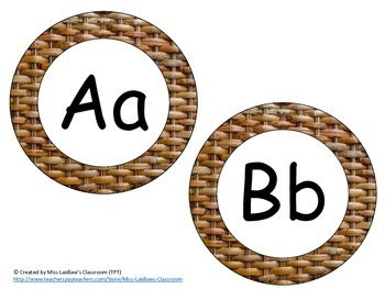 Word Wall Headers {Wicker Texture #1}  - Upper and Lowercase Letters, Digraphs
