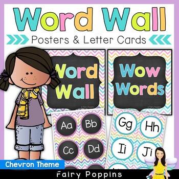 Word Wall Headers & Word Cards - Chevron Theme
