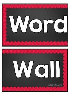 Word Wall Headers & Word Cards - Red & Blue Theme