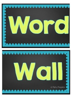 Word Wall Headers & Word Cards - Teal & Green Theme