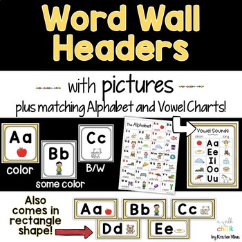 Word Wall Headers (Yellow)