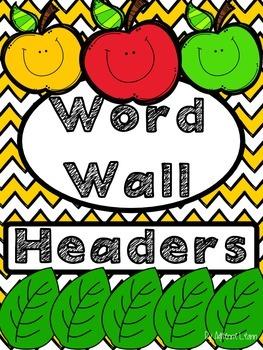 Word Wall Headers Yellow Chevron