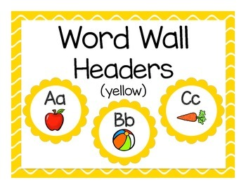 Word Wall Headers: Yellow Flower