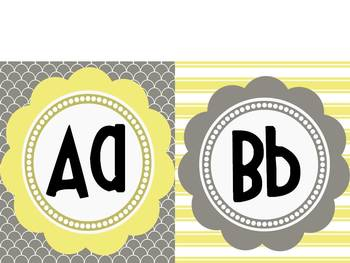 Word Wall Headers: Yellows and Grays