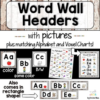 Word Wall Headers and Alphabet Cards with Pictures Farmhouse Style | Decor