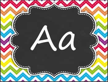 Word Wall Headers and Alphabet Labels - Rainbow Chevron Chalkboard Design