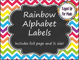 Word Wall Headers and Alphabet Labels - Rainbow Chevron Ch