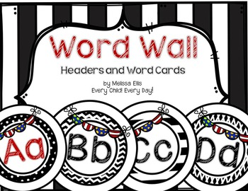 Word Wall Headers and DOLCH Word Cards - Black and White